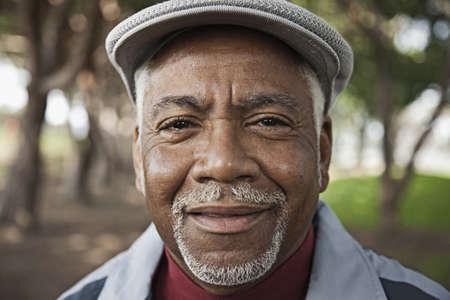 Senior African man in park