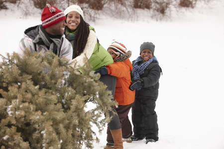 African American family retrieving Christmas tree LANG_EVOIMAGES