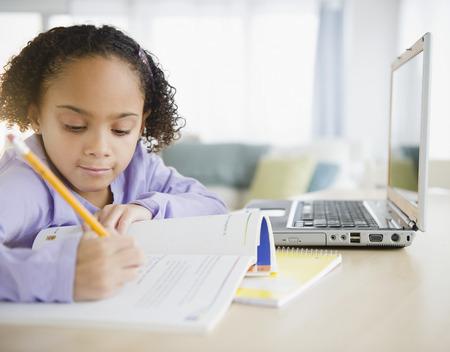 African American girl doing homework