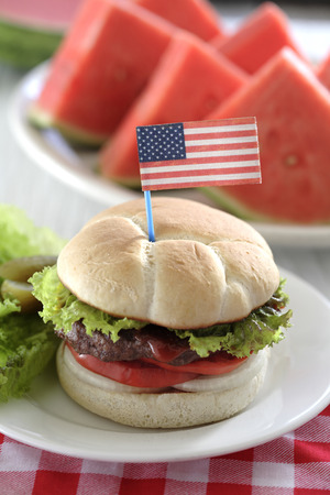 Watermelon and hamburger with American flag decoration LANG_EVOIMAGES