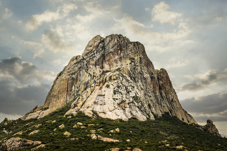 Rock formation on rural hilltop,San Sebastian Bernal,Queretano,Mexico