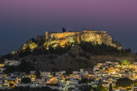 The acropolis above the small white houses of Lindos