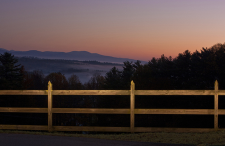 Pasture Fence in Mountains at Twilight LANG_EVOIMAGES