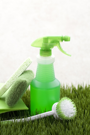 Green scrubber,sponges and spray bottle in grass LANG_EVOIMAGES