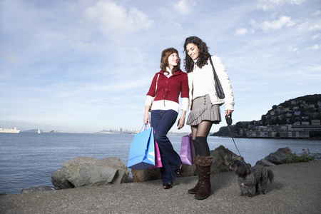 Women shopping together on waterfront