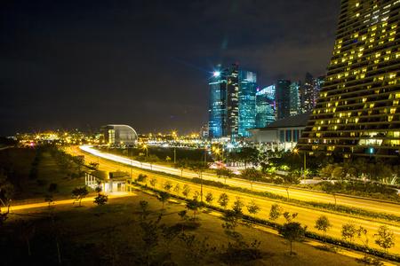 Singapore cityscape lit up at night, Singapore, Republic of Singapore LANG_EVOIMAGES