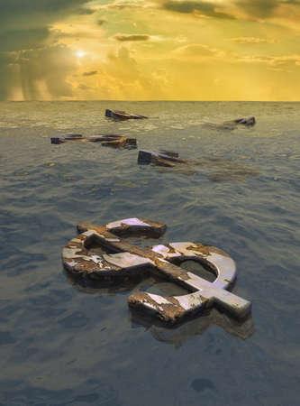 Rusted dollar signs floating in ocean