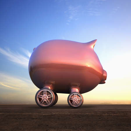 Piggy Bank Car Driving On Remote Road Stock Photo, Picture And Royalty Free Image. Image 92455098. - 웹