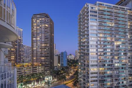 Illuminated skyscrapers in cityscape, Honolulu, Hawaii, United States