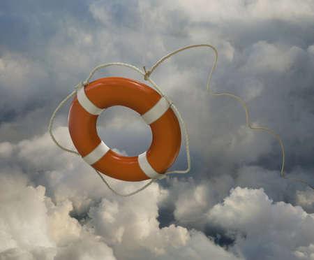 Orange life preserver floating in clouds LANG_EVOIMAGES