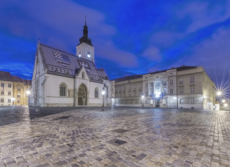 Illuminated church and town square buildings, Zagreb, Zagreb, Croatia