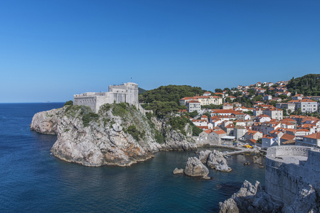 Coastal city on rock formations and hillside, Dubrovnik, Dubrovnik-Neretva, Croatia