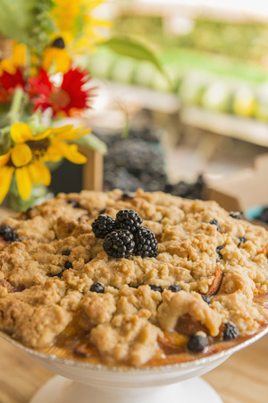 Close up of fruit crumble at farmers market