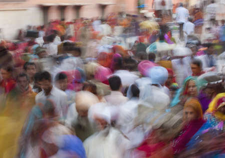 Blurred scene of busy Indian street
