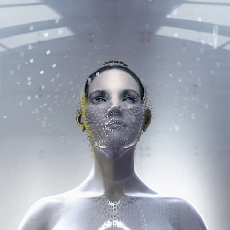 Pacific Islander Woman Wearing Artificial Technology Mask