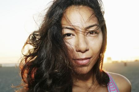 Close Up Of Face Of Serious Hispanic Woman