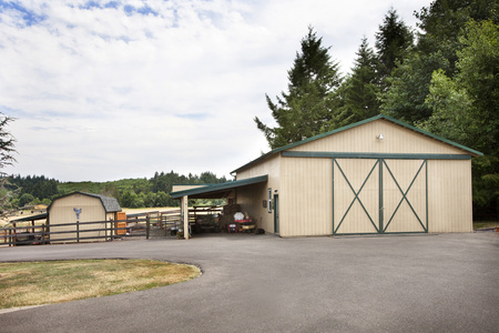 Concrete Driveway And Barn On Ranch