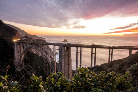 High Angle View Of Bixby Bridge And Sunset Sky, Big Sur, California, United States LANG_EVOIMAGES