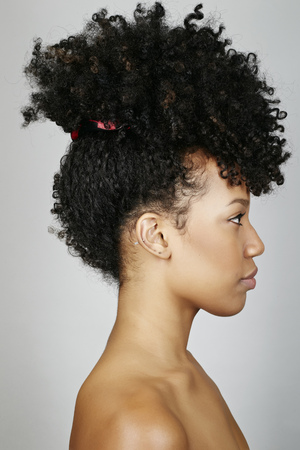Close Up Profile Of Mixed Race Woman