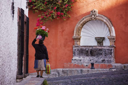 Woman Carrying Flowers On Her Head On Sidewalk, San Miguel De Allende, Guanajuato, Mexico