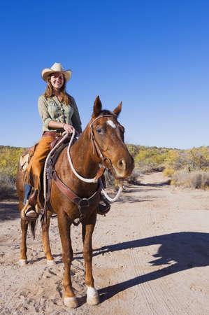 Caucasian Rancher Riding Horse On Dirt Path