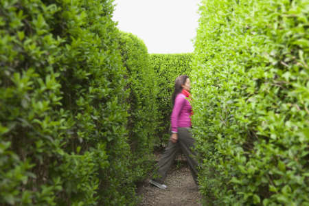 Hispanic Woman Walking In Hedge Maze LANG_EVOIMAGES