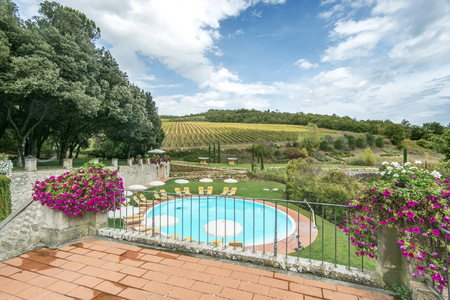 Swimming Pool On Hotel Grounds, Radda In Chianti, Siena, Italy