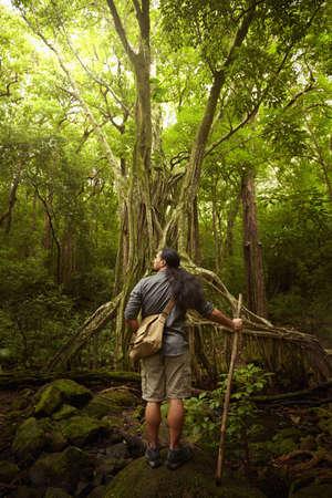 Hawaiian man standing under tree in forest