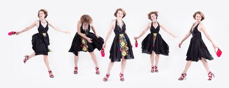 Multiple exposures of stylish Caucasian woman in dress heels