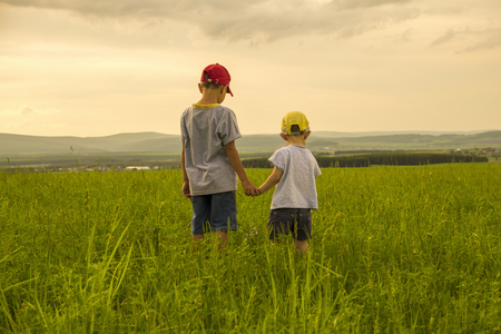 Mari brothers exploring in rural field