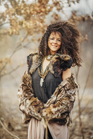 Mixed race woman wearing stylish clothes
