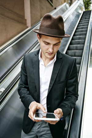 Caucasian businessman using digital tablet