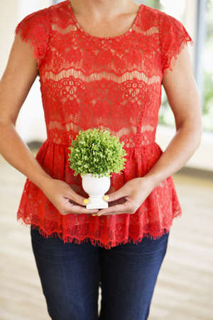 Caucasian businesswoman holding plant in office