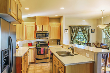 Countertops and cabinets in modern kitchen