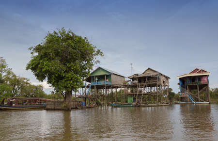 Houses built above river water