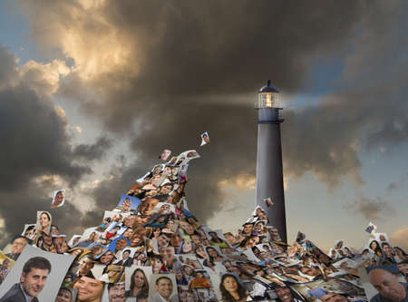 Collage of faces in stormy sea under lighthouse