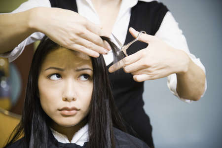 Female hair stylist cutting womans hair in salon LANG_EVOIMAGES