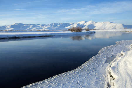Still river in snowy remote landscape LANG_EVOIMAGES