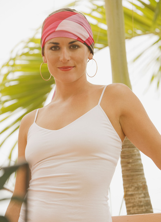 Mixed race woman in headscarf outdoors