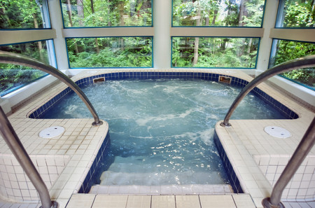 Public whirlpool Jacuzzi with moving water