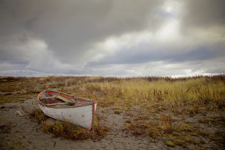 An old abandoned boat by the shore near Port Townsend