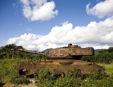 Rusted tank at Khe Sanh,Vietnam