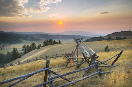 Sunset over the mountains and valleys of Montana