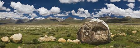 Mani Rocks carved with the Tibetan mantra Om Mani Padme Hum