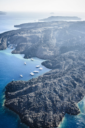 Aerial view of rocky rural coastline,Santorini,Egeo,Greece