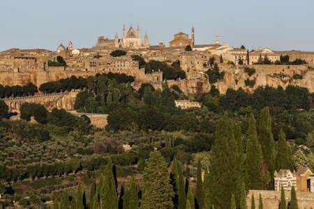 Hilltop town at dusk, Orvieto, Umbria, Italy