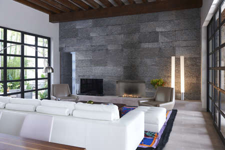 Sofa and stone wall in modern living room