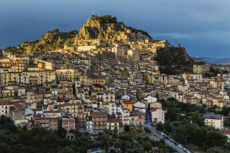 Hillside town at sunset, Nicosia, Sicily, Italy