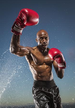 Water splashing on Black boxer