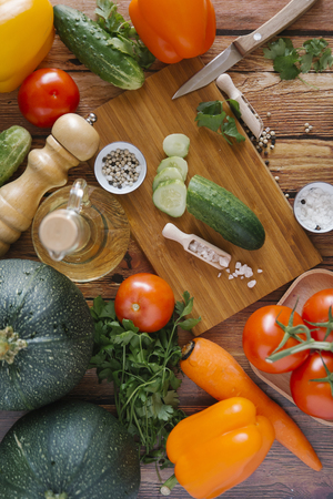 Ingredients for salad on cutting board LANG_EVOIMAGES
